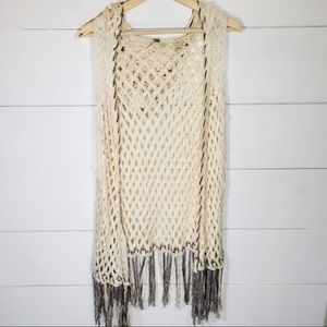 BKE Boho Sleeveless Open Knit Tassle hood Cardigan